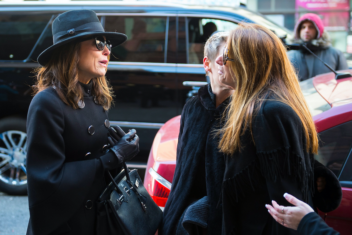 Bethenny Frankel and Jill Zarin are seen departing from the funeral for Bobby Zarin