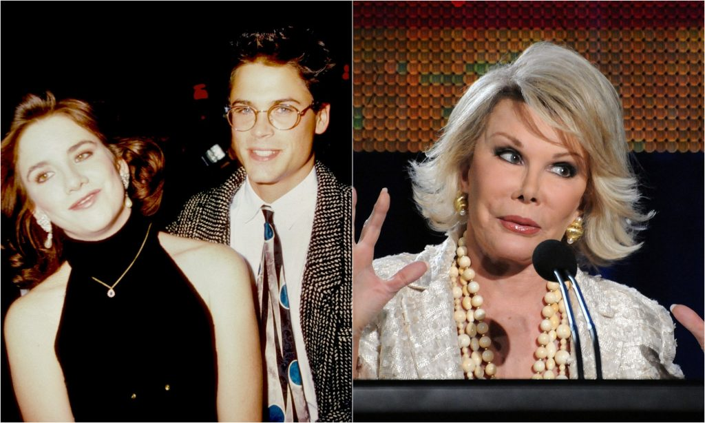 Melissa Gilbert and Rob Lowe together in the 1980s with a photo of Joan Rivers speaking in 2009