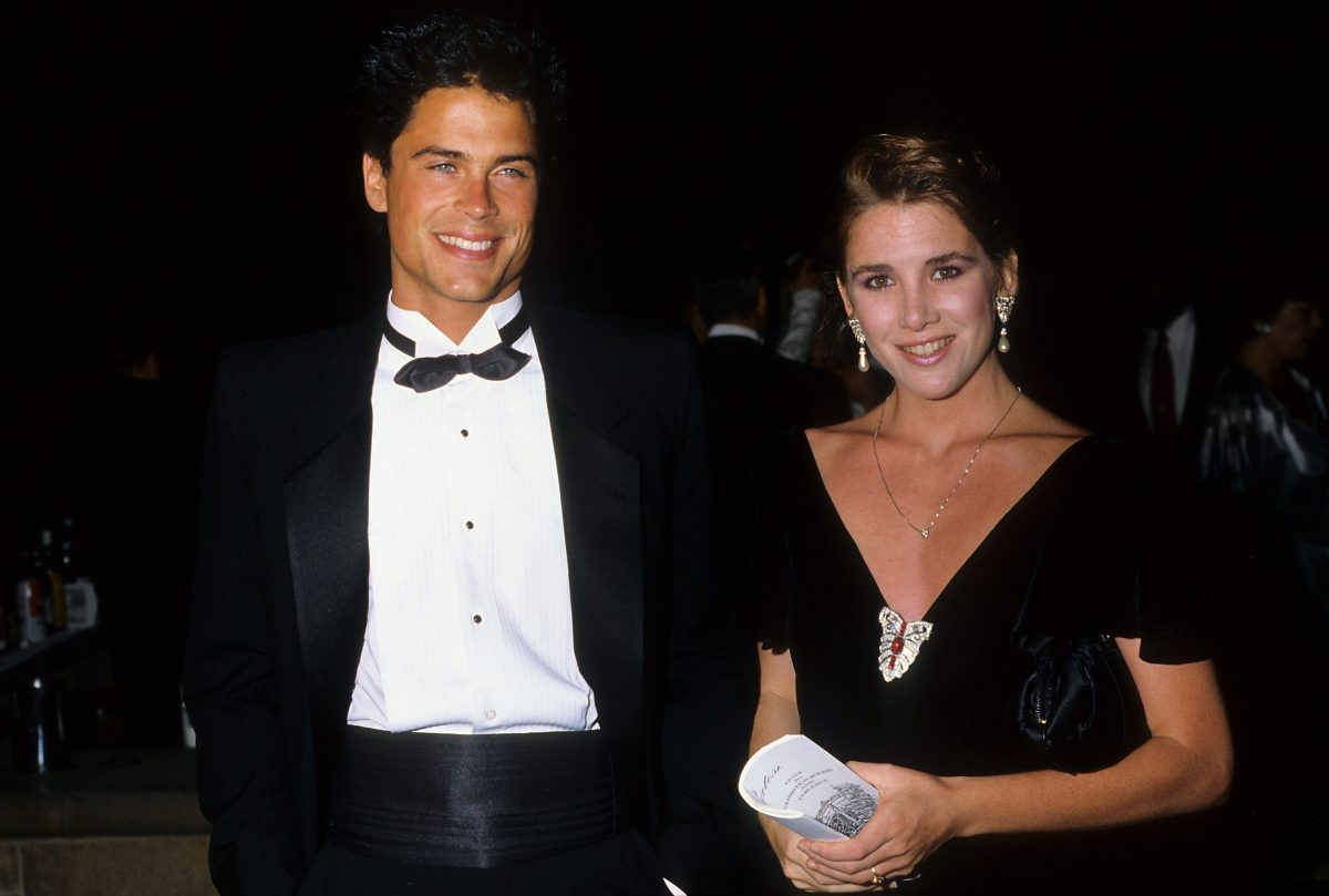 Rob Lowe and Melissa Gilbert stand next to each other all dressed up in 1987 in Los Angeles, Californi