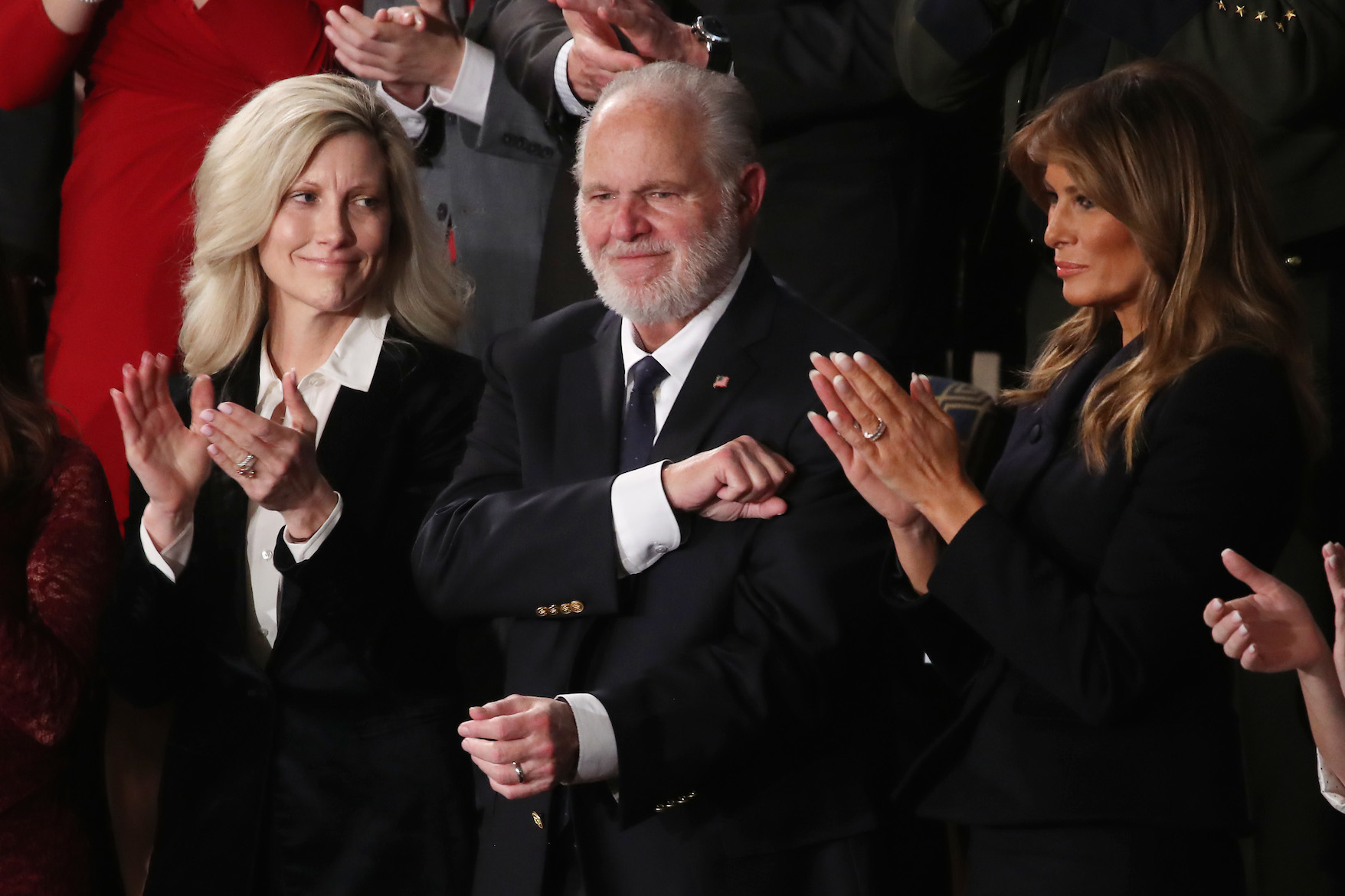 Rush Limbaugh and wife Kathryn Adams Limbaugh attend the State of the Union address