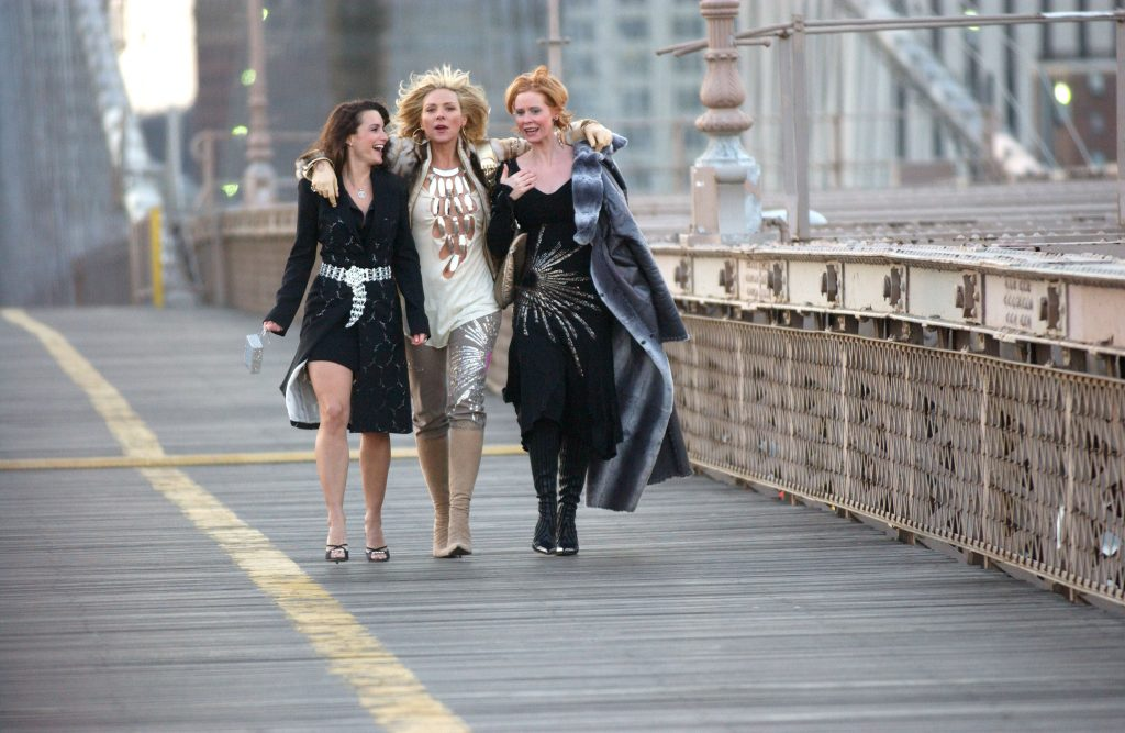 Kristin Davis, Kim Cattrall and Cynthia Nixon during a 'Sex and the City' Promo Shoot