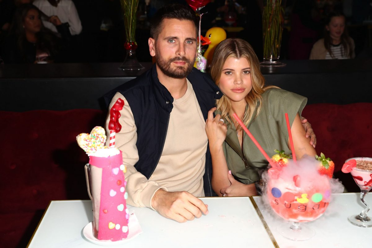 Scott Disick and Sofia Richie attending The Sugar Factory's San Diego opening in 2019