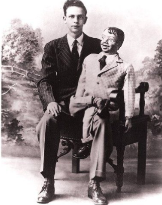 Don Knotts in 1943 age 19, with his ventriloquist's puppet