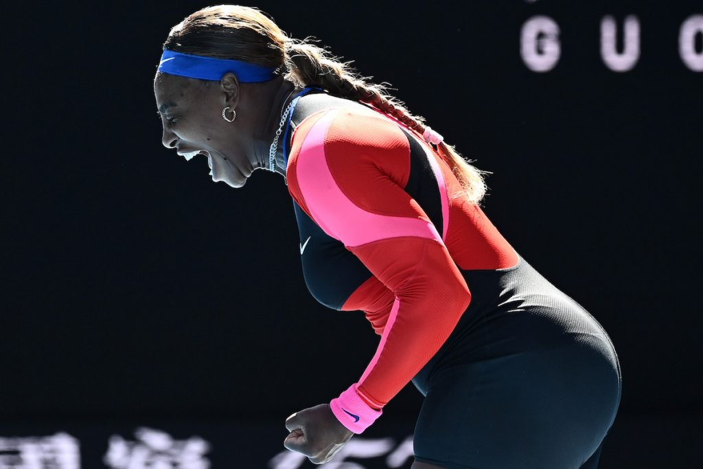 Serena Williams of the United States celebrates after winning a point in her Women's Singles fourth round match against Aryna Sabalenka of Belarus during day seven of the 2021 Australian Open at Melbourne Park on February 14, 2021 in Melbourne, Australia   Quinn Rooney/Getty Images