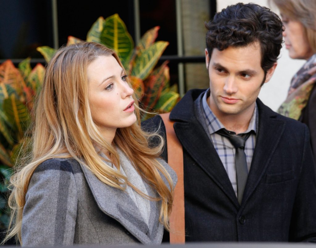 Blake Lively and Penn Badgley on the set of 'Gossip Girl' in 2010
