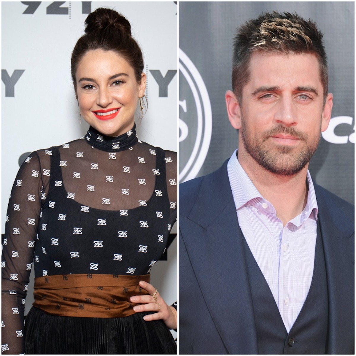 Shailene Woodley smiles on the red carpet and Aaron Rodgers looks into camera