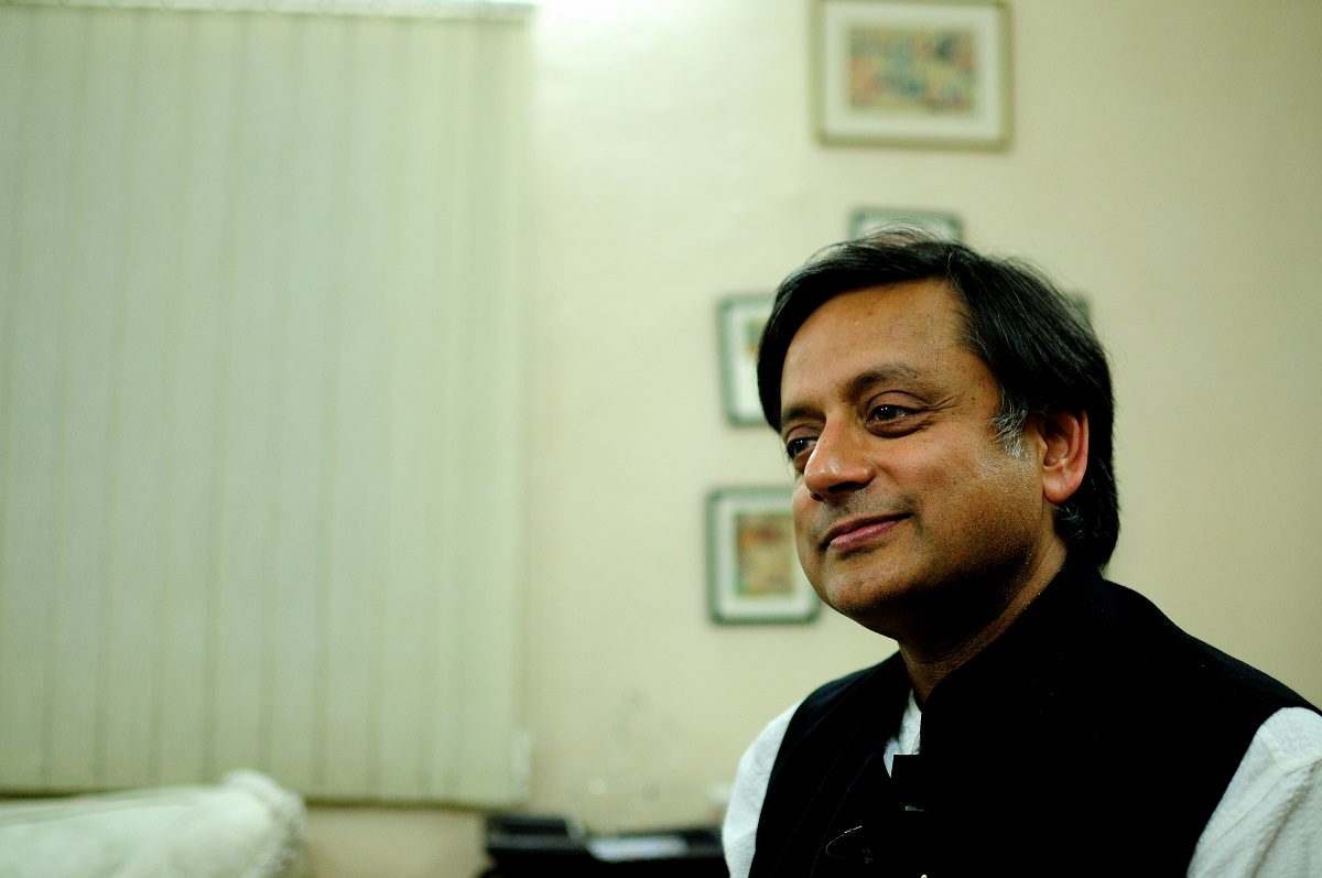 Candid portrait of Shashi Tharoor at his home