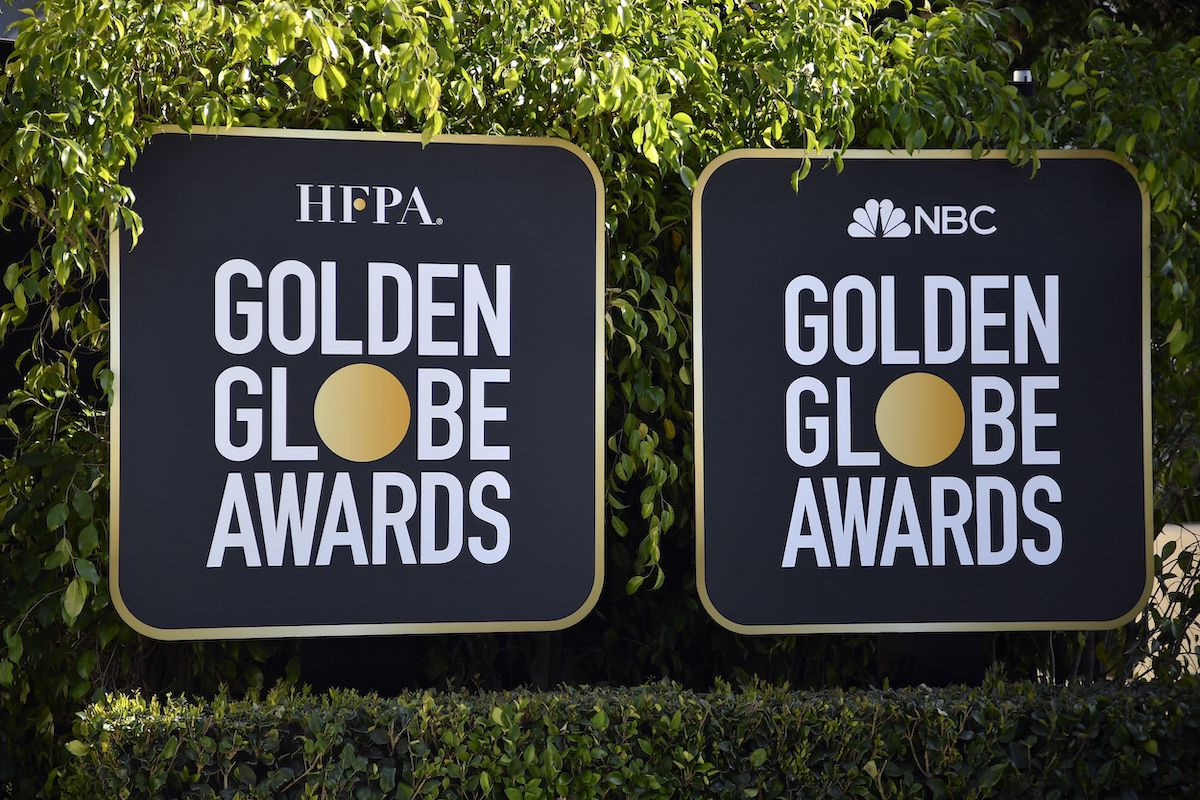 Signs for the 78th annual Golden Globe Awards at The Beverly Hilton hotel