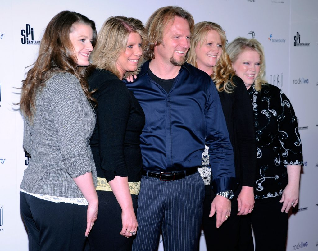 "Robyn Brown, Meri Brown, Kody Brown, Christine Brown and Janelle Brown from ""Sister Wives"" arrive at the grand opening of Mike Tyson's one-man show in Las Vegas"