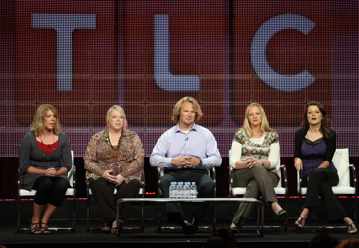 Meri Brown, Janelle Brown, Kody Brown, Christine Brown and Robyn Brown sit for a 'Sister Wives' panel in 2010