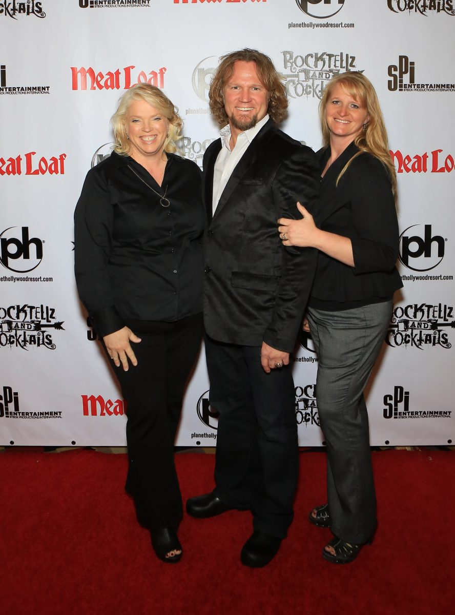 Janelle Brown, Kody Brown and Christine Brown arrive at 'Rocktellz Cocktails Presents Meat Loaf' at Planet Hollywood Resort and Casino