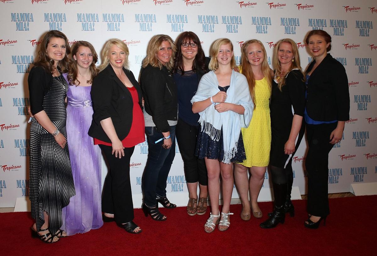 Robyn, Aurora, Janelle, Meri, Mariah, Gwendlyn, Aspyn, Christine, and Mykelti Brown on the red carpet at a Las Vegas production of 'Mamma Mia!'