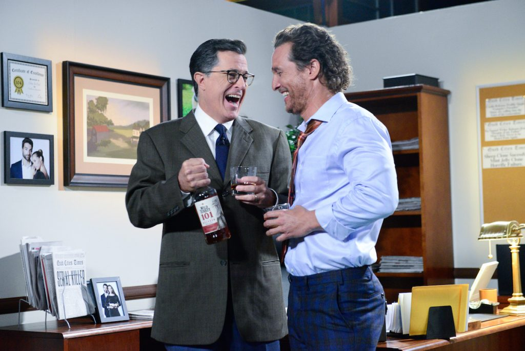 Stephen Colbert and Matthew McConaughey on 'The Late Show With Stephen Colbert' in 2017