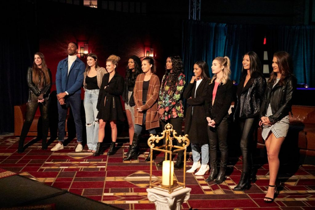 'The Bachelor' contestants stand for a rose ceremony