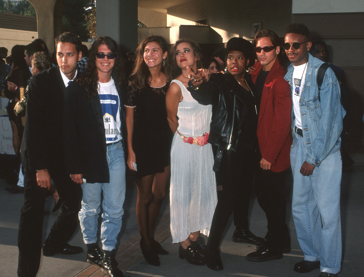 Norman Korpi, Andre Comeau, Julie Oliver, Rebecca Blasband, Heather B., Eric Nies and Kevin Powell of The Real World New York Cast at the VMAs.