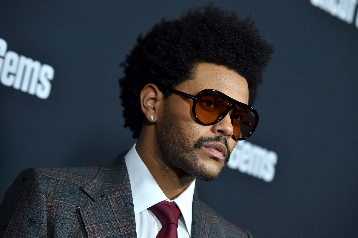 Headshot of singer The Weeknd on the red carpet wearing sunglasses in 2019