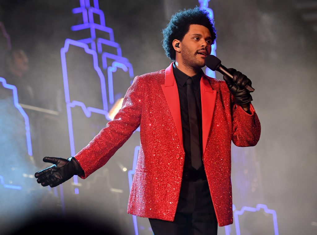 The Weeknd rehearses for the Super Bowl LV Halftime Show at Raymond James Stadium on February 04, 2021 in Tampa, Florida | Kevin Mazur/Getty Images for TW