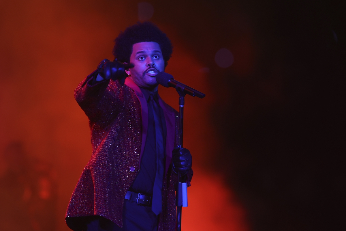 The Weeknd performs during the Pepsi Super Bowl LV Halftime Show at Raymond James Stadium in Tampa, Florida