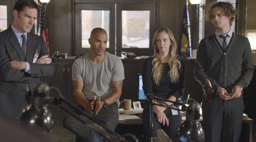 Thomas Gibson, Shemar Moore, A.J. Cook, and Matthew Gray Gubler in 'Criminal Minds'