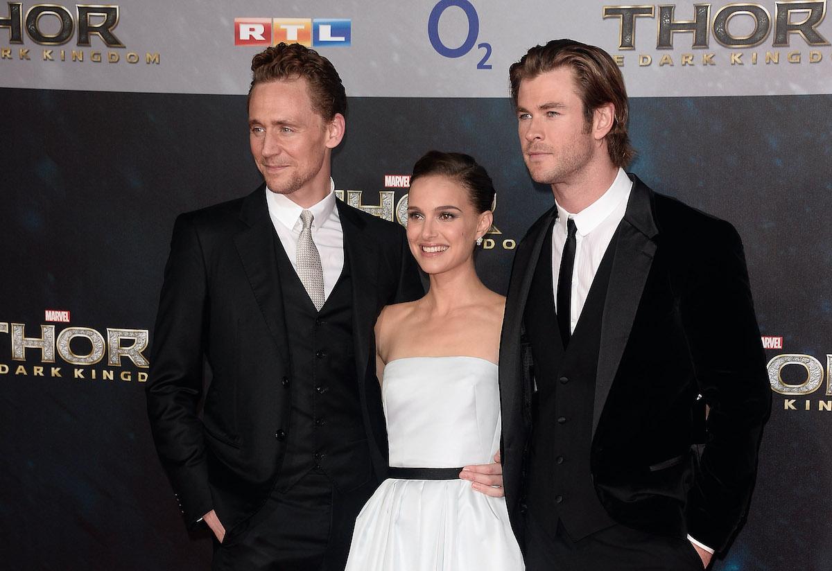 Tom Hiddleston, Natalie Portman, and Chris Hemsworth at the German premiere of 'Thor: The Dark World'