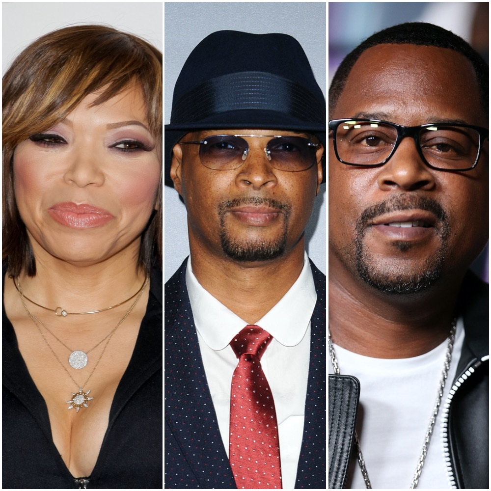 A photo collage of Tisha Campbell-Martin, Damon Wayans, and Martin Lawrence