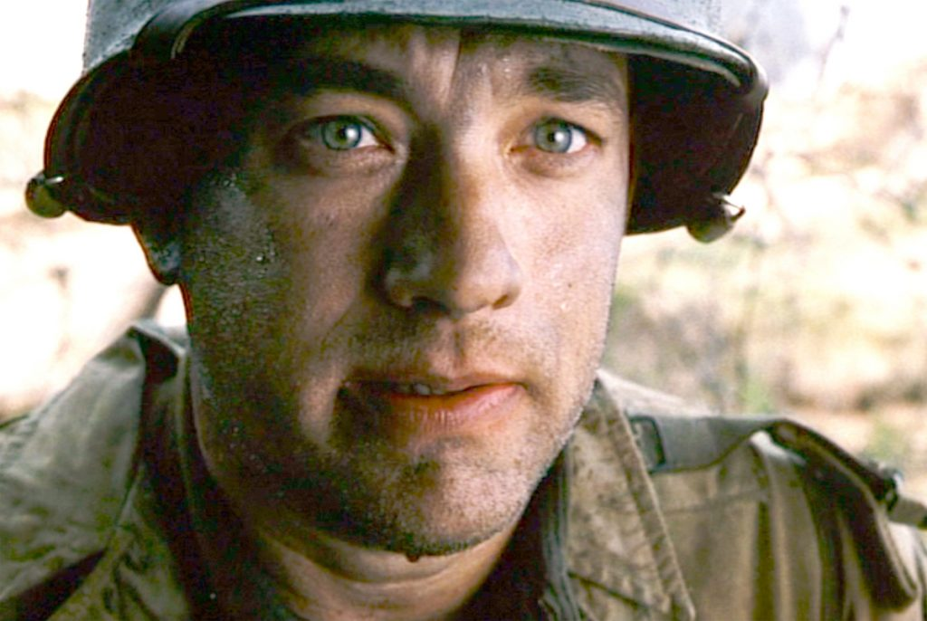Seen here, Tom Hanks (as Captain John Miller), takes a moment to reflect, upon surviving D-Day in 'Saving Private Ryan.'