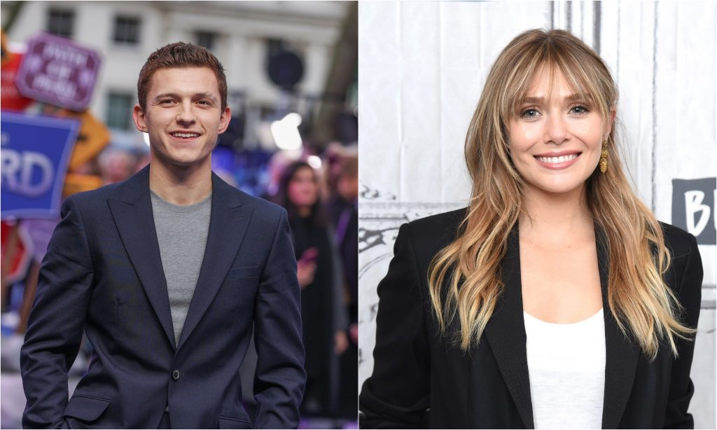 Tom Holland at the 'Onward' UK Premiere in 2020 and Elizabeth Olsen smiles at the camera while visiting the Build Series in 2019