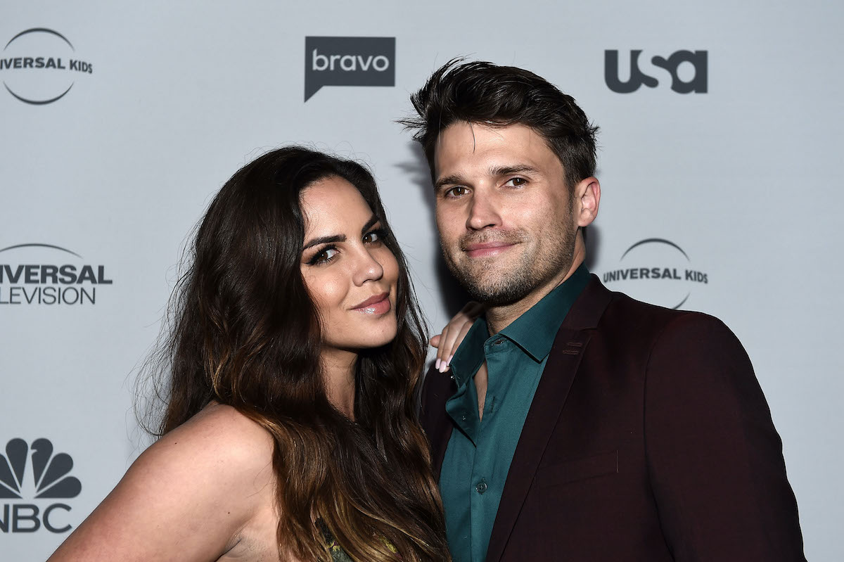 Katie Maloney-Schwartz and Tom Schwartz doing press