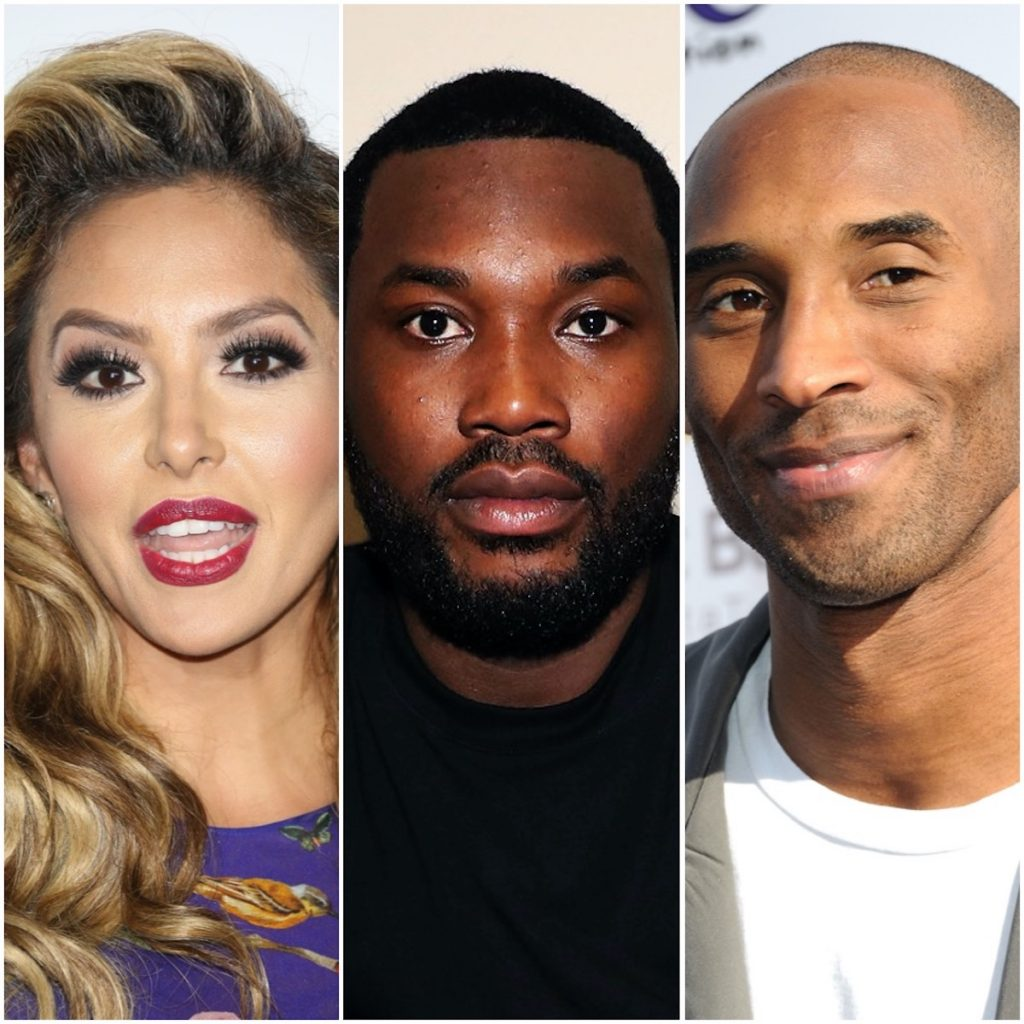 A photo collage of Vanessa Bryant, Meek Mill, and Kobe Bryant