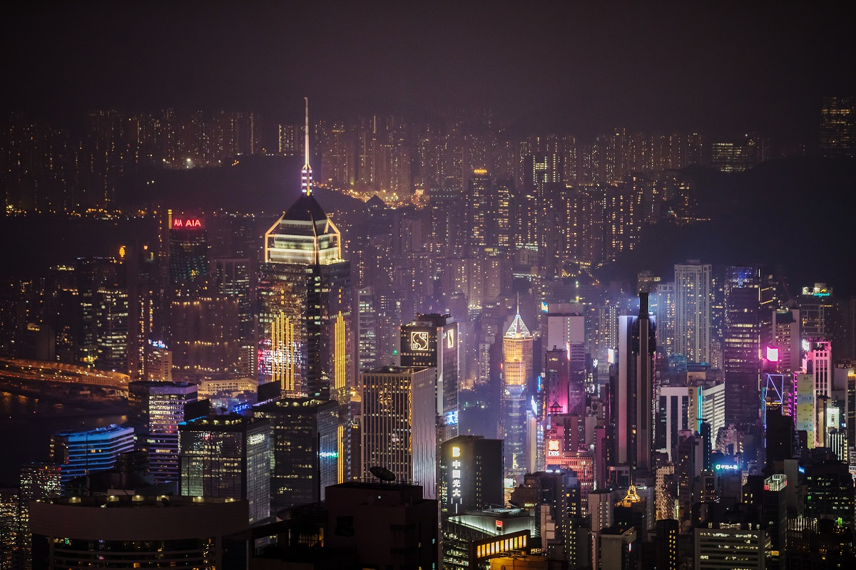 The Hong Kong night skyline as seen from Victoria Peak in 2019