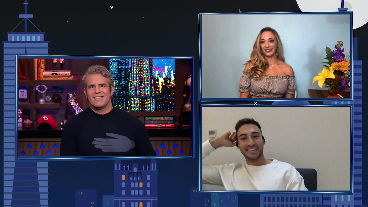 Andy Cohen, James Hough, Elizabeth Frankini on 'WWHL'