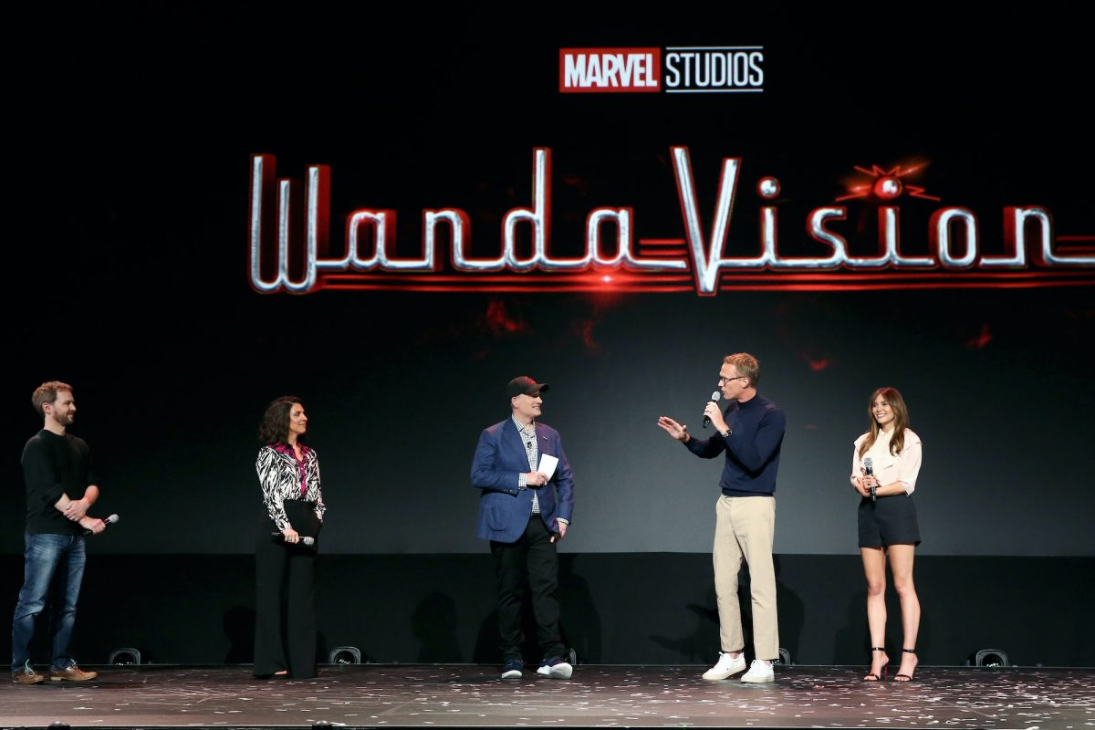 The cast and crew of 'WandaVision' present the new show onstage