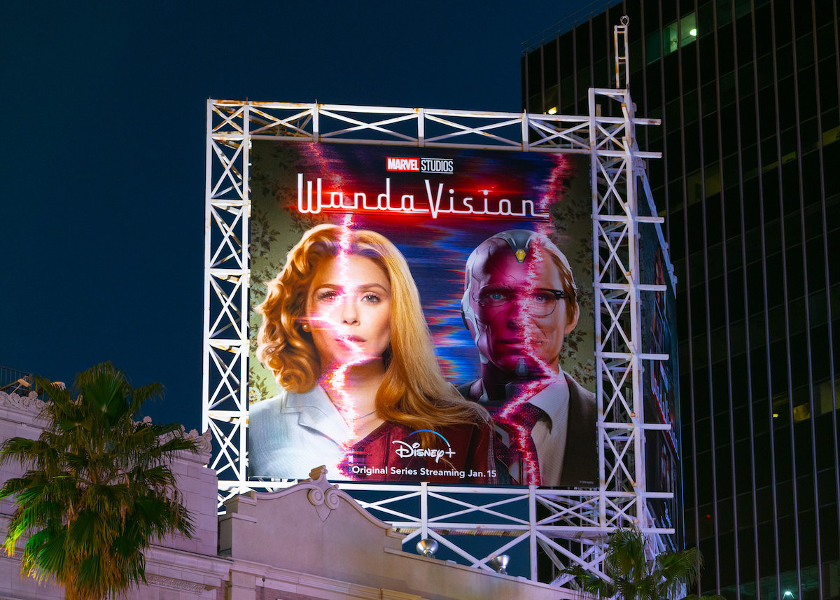 A billboard above the El Capitan Entertainment Centre for the Disney+ and Marvel show, 'WandaVision'