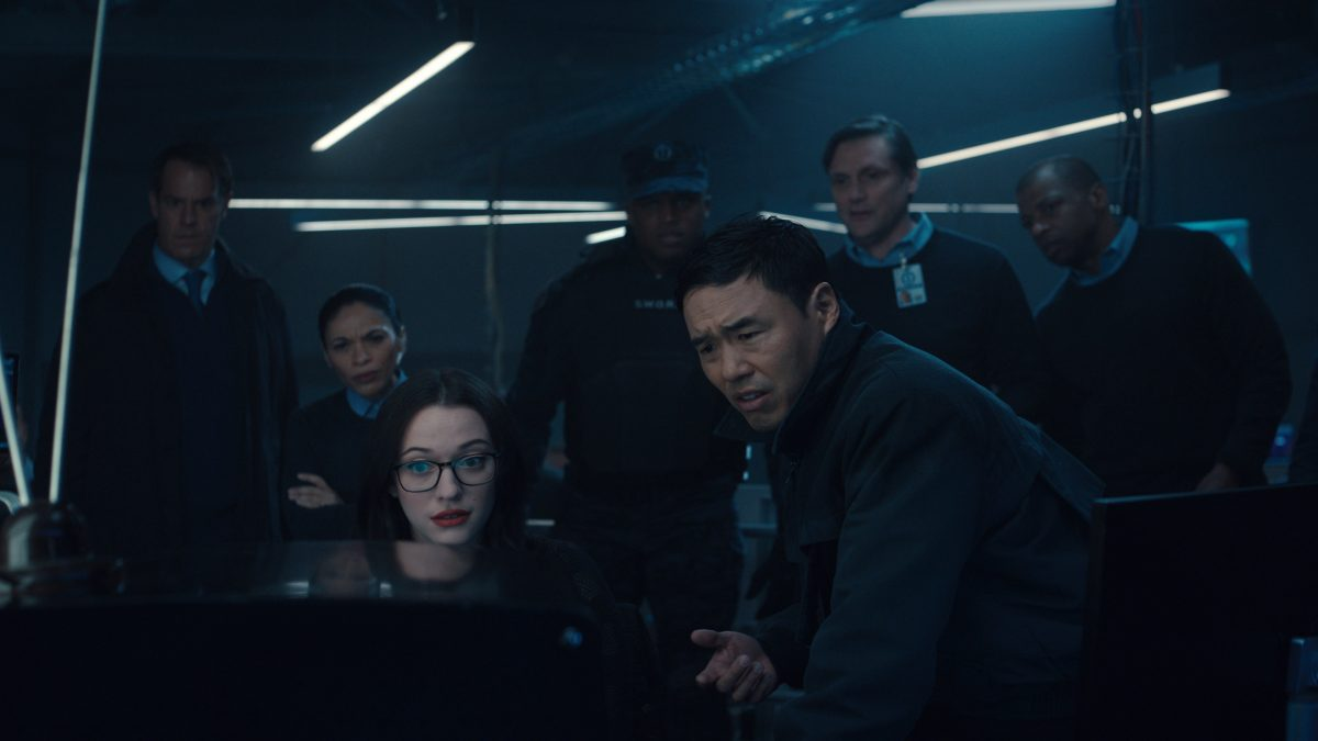 Marvel's WandaVision: Kat Dennings and Randall Park in SWORD headquarters