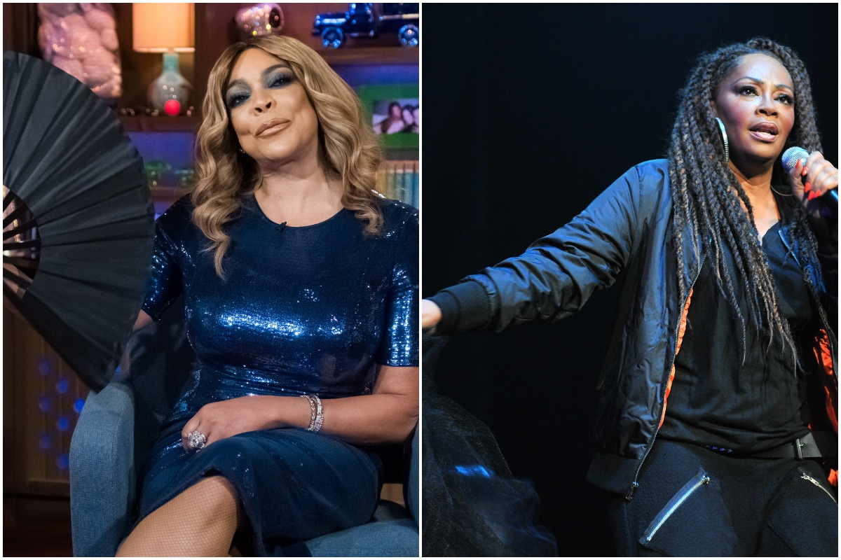 Wendy Williams smiling in a blue dress with a black fan/Jody Watley singing with a black outfit and braids.