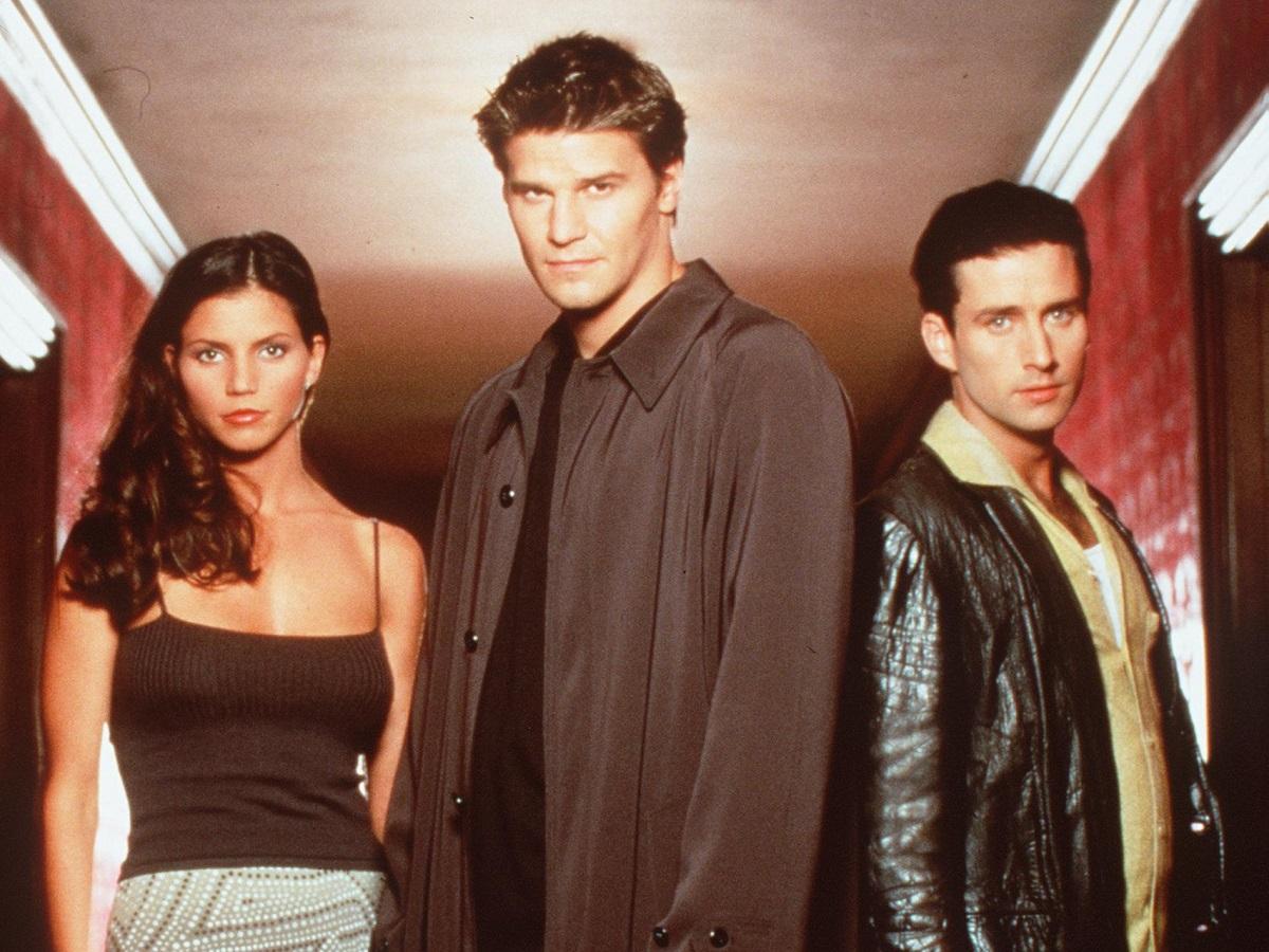 (L-R): Charisma Carpenter, David Boreanaz, and Glenn Quinn star in the TV show 'Angel' in 1999.
