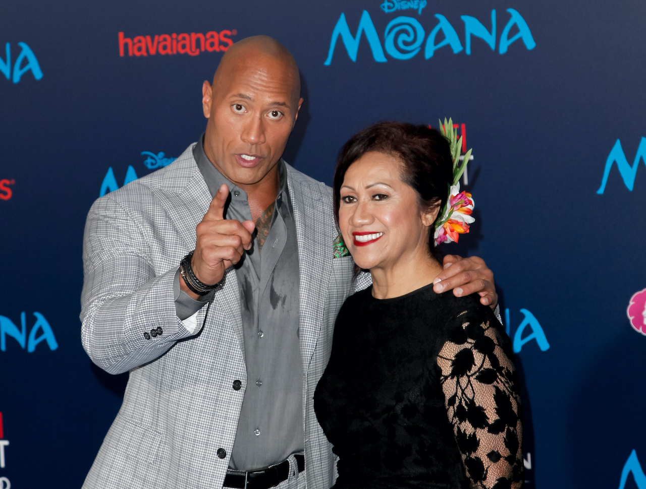 Dwayne Johnson and his mother, Ata Johnson, attend the premiere of Disney's 'Moana'