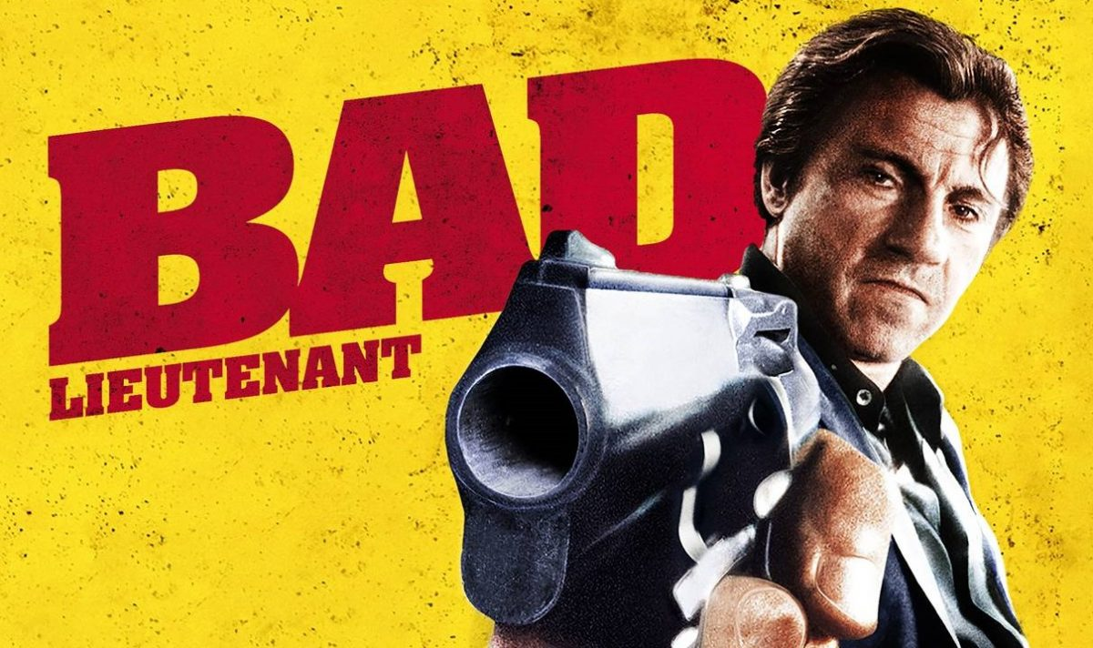 Graphic for 'Bad Lieutenant' featuring Harvey Keitel holding a gun