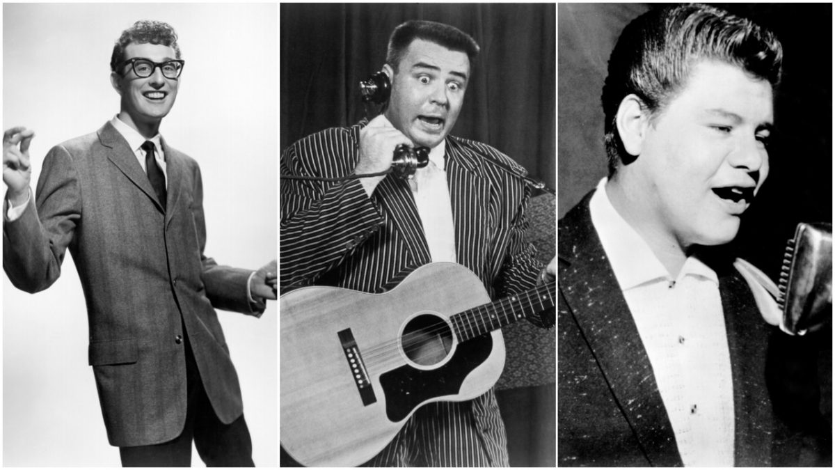 Side by side images of Buddy Holly, Big Bopper and Ritchie Valens