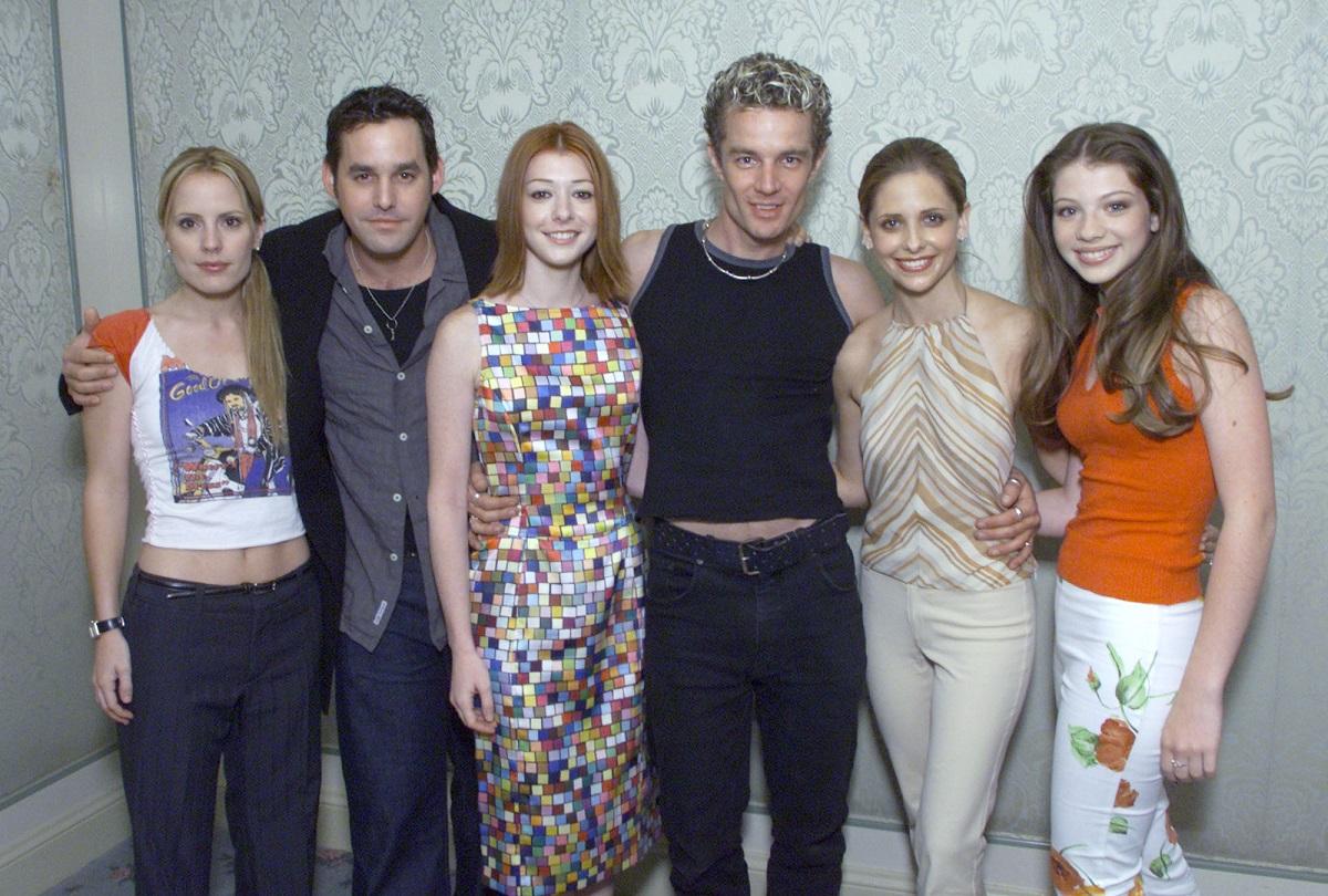 (L-R): 'Buffy' cast members Emma Caulfield, Nicholas Brendon, Alyson Hannigan, James Marsters, Sarah Michelle Gellar, and Michelle Trachtenberg on July 16, 2001.