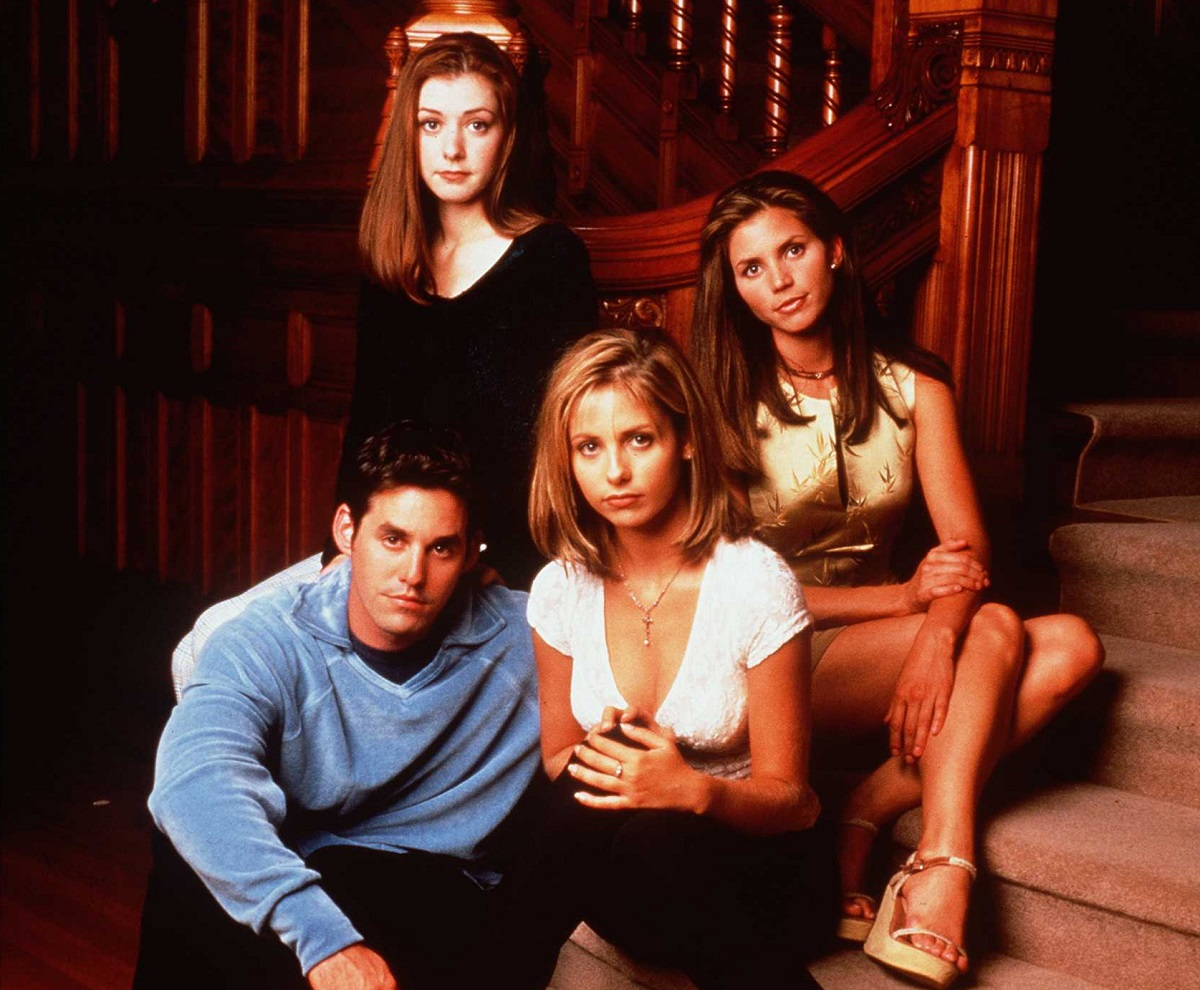 Clockwise from top left: Alyson Hannigan as Willow Rosenberg, Charisma Carpenter as Cordelia Chase, Sarah Michelle Gellar as Buffy, and Nicholas Brendon as Xander Harris in 'Buffy The Vampire Slayer.'