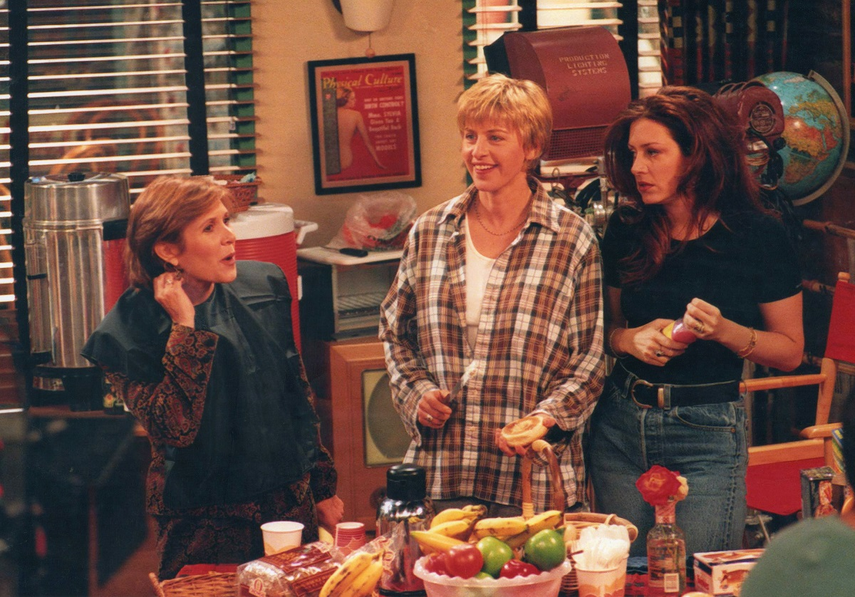(L-R): Carrie Fisher, Ellen DeGeneres, and Joely Fisher perform in a scene from 'Ellen' at Disney Studios, Burbank, California, November 1, 1995.