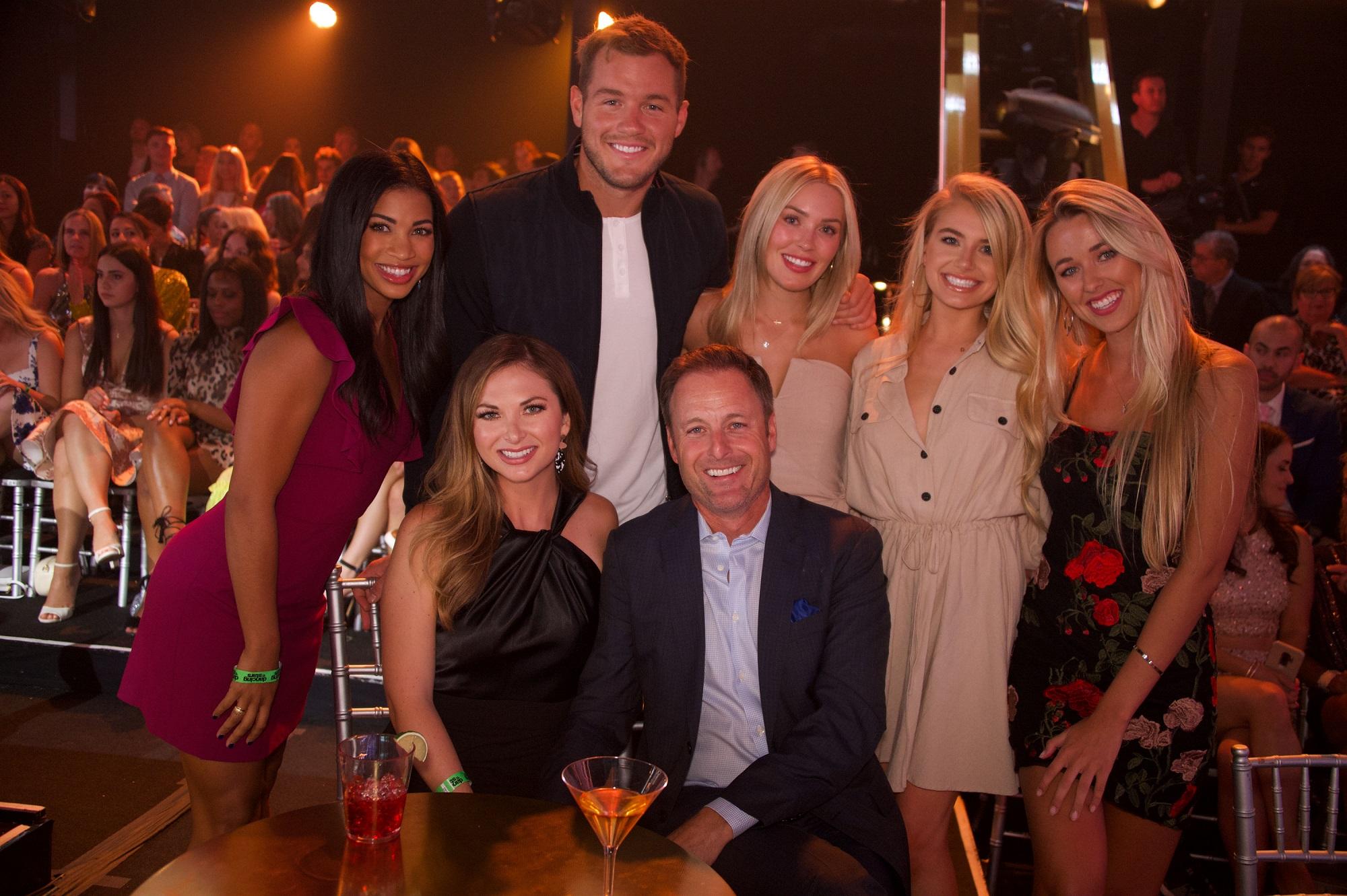Chris Harrison with girlfriend Lauren Zima and contestants Katie Morton, Colton Underwood, Cassie Randolph, Demi Burnett, Heather Martin