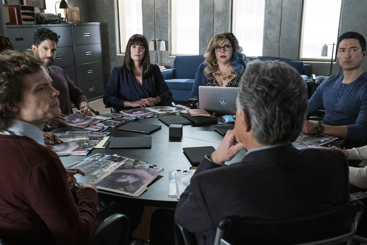 BAU team sitting around a table during an episode of Criminal Minds