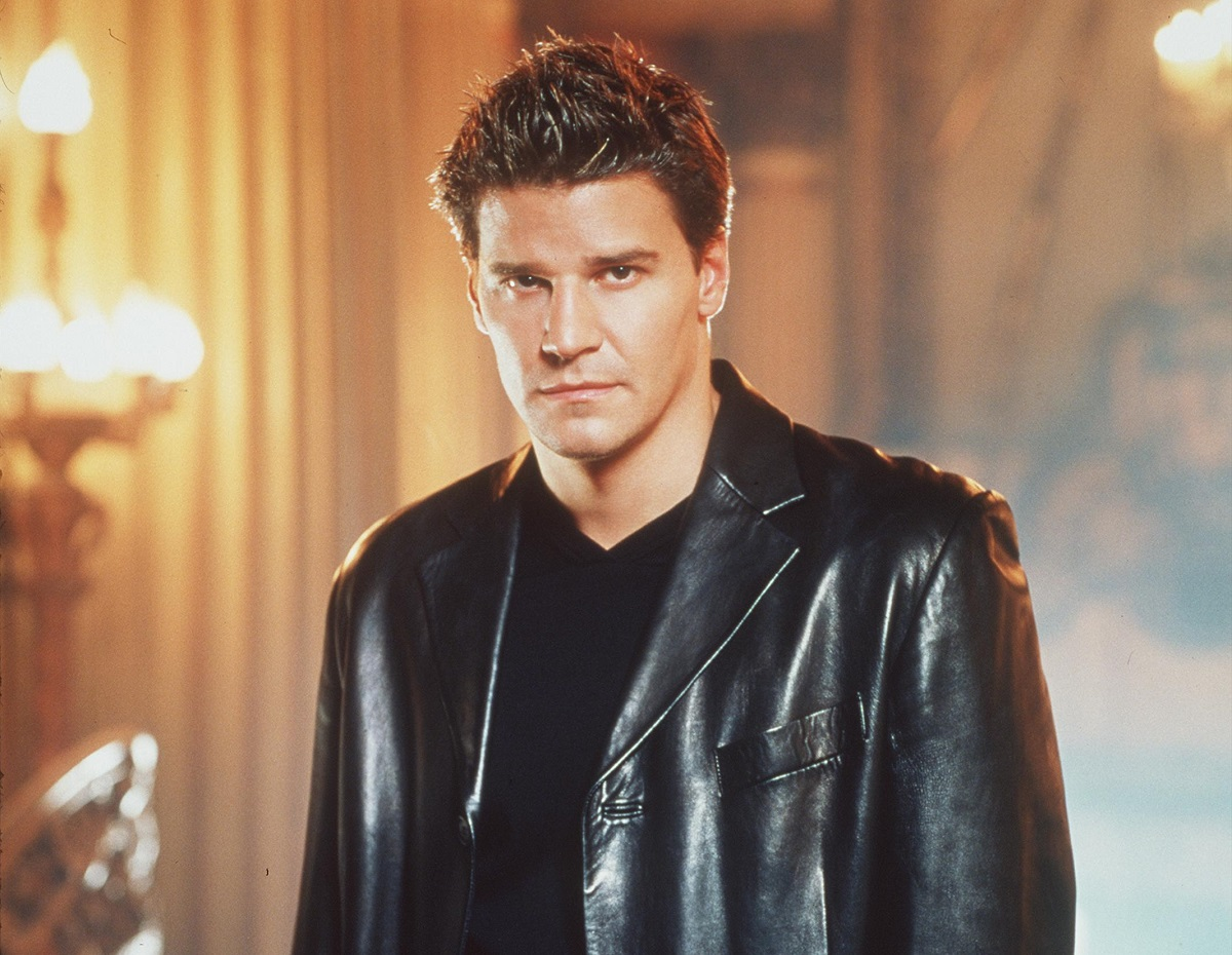David Boreanaz in a leather jack and black t-shirt
