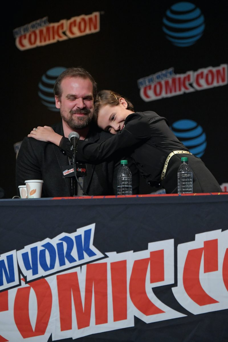 David Harbour and Millie Bobby Brown speak onstage at Inside the Upside Down in 2016