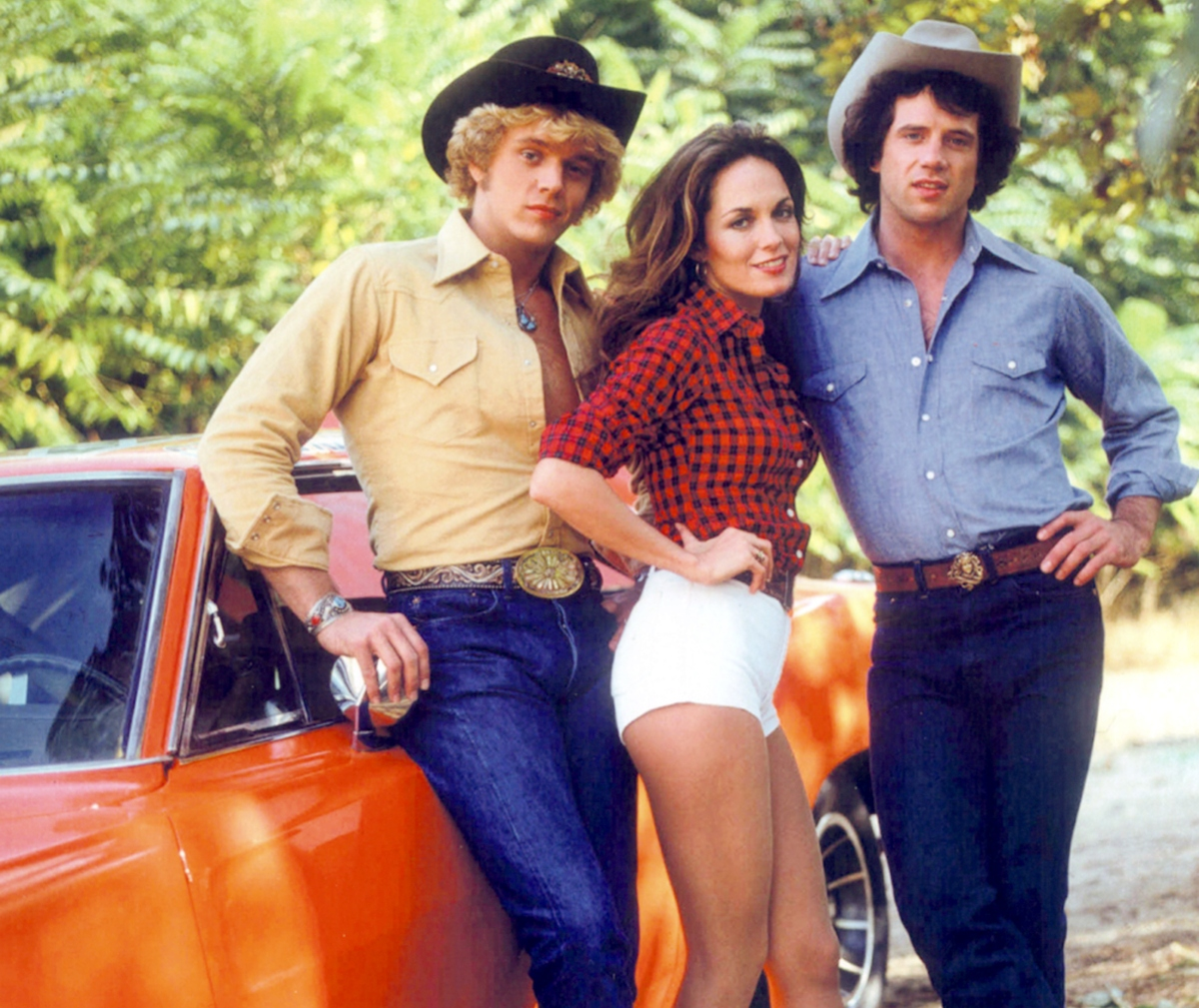John Schneider, Catherine Bach, and Tom Wopat of The Dukes of Hazzard