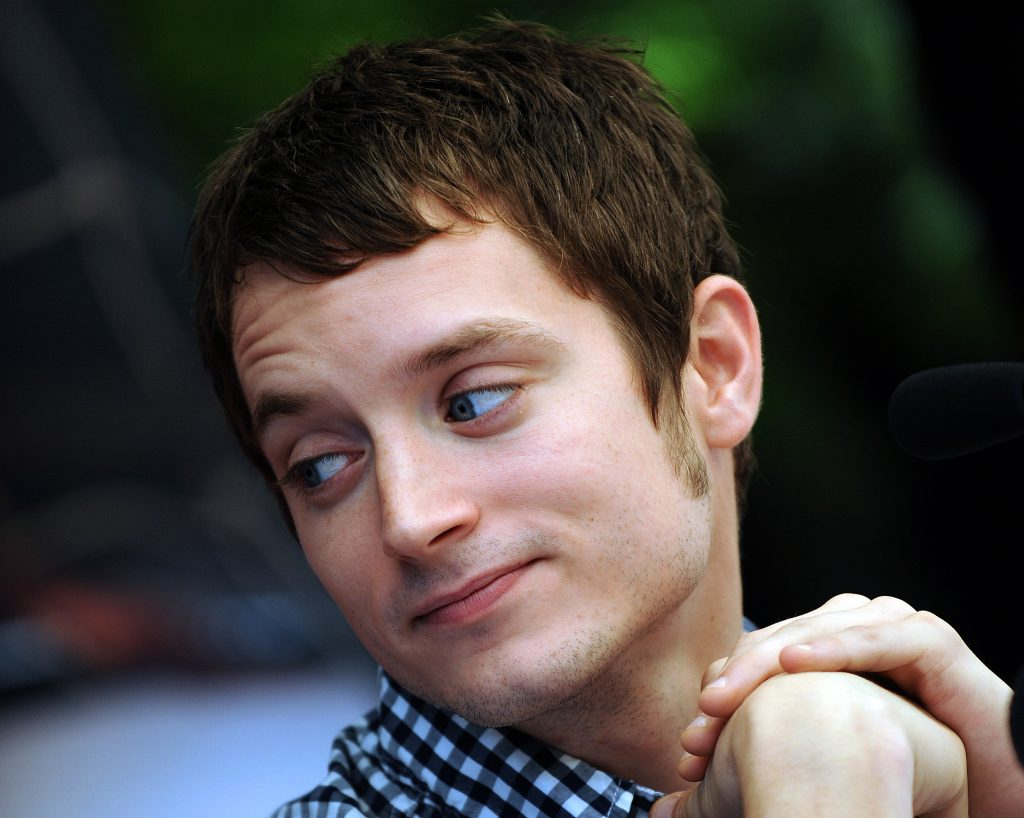 Elijah Wood, who played Frodo in the 'The Lord of the Rings,' gestures during a press conference in Santiago, Chile.