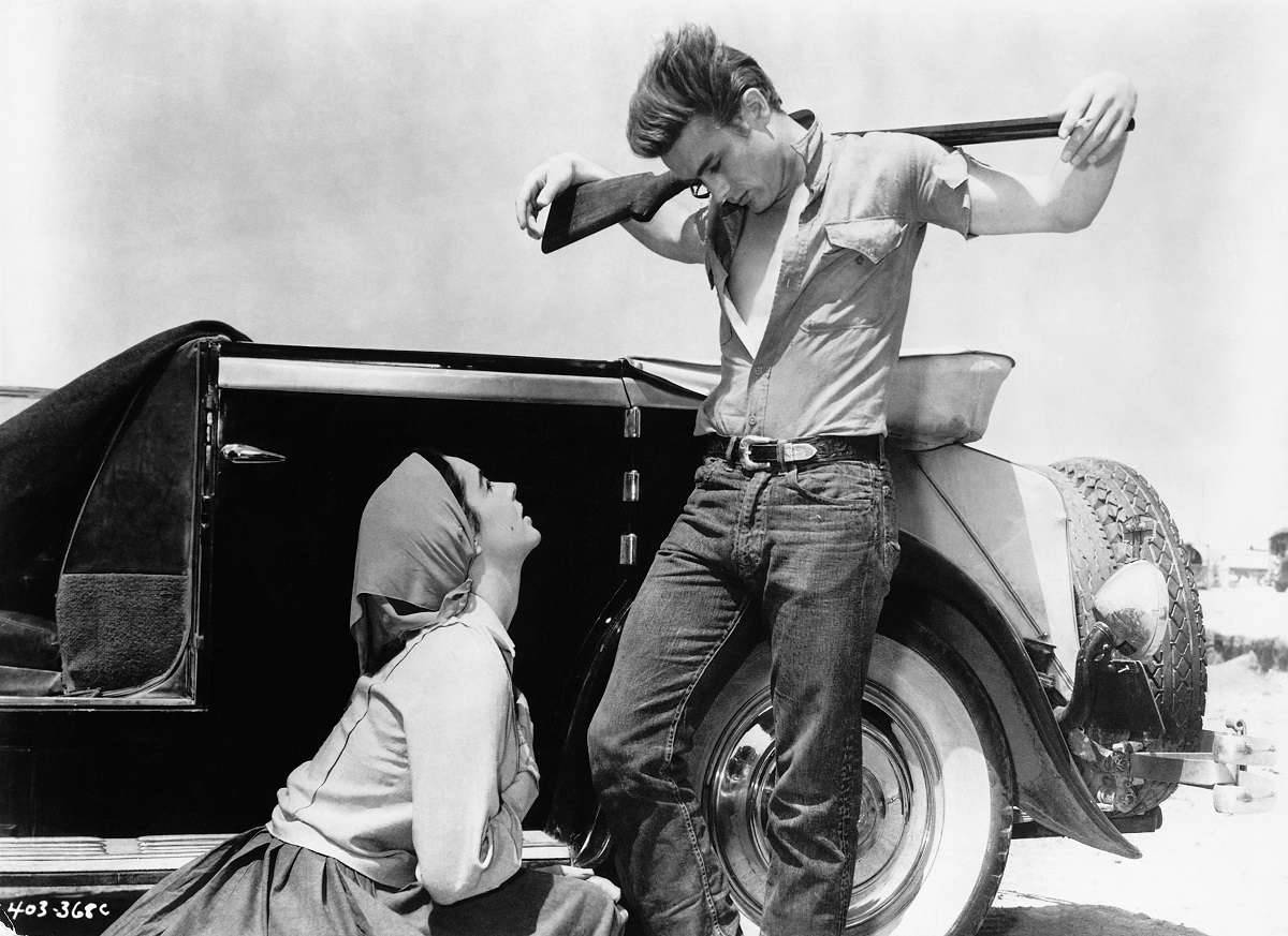 James Dean (R) and Elizabeth Taylor (L) in a publicity photo for the 1956 film 'Giant.'