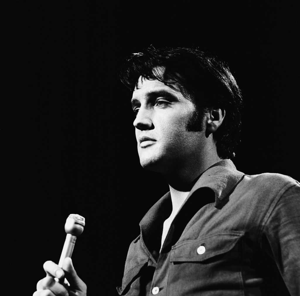 Elvis Presley with a microphone